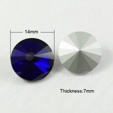 riv0013k-disk-14 apie 14 mm, disko forma, skaidrus, tamsi, mėlyna spalva, 6 vnt.
