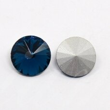riv0012k-disk-14 about 14 mm, disk shape, transparent, dark, blue color, 6 pcs.