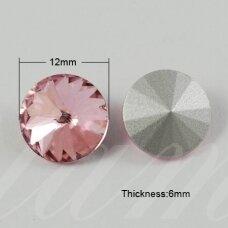 riv0015-disk-12 apie 12 mm, disko forma, skaidrus, šviesi, violetinė spalva, 6 vnt.