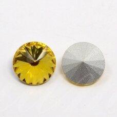riv0022k-disk-14 apie 14 mm, disko forma, skaidrus, geltona spalva, 6 vnt.