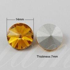 riv0023k-disk-14 apie 14 mm, disko forma, skaidrus, geltona spalva, 6 vnt.