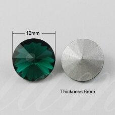riv0007-disk-12 apie 12 mm, disko forma, skaidrus, žalia spalva, 6 vnt.