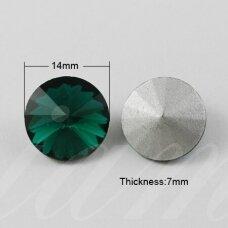 riv0007-disk-14 apie 14 mm, disko forma, skaidrus, žalia spalva, 6 vnt.