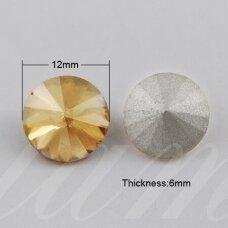 riv0002-disk-12 apie 12 mm, disko forma, skaidrus, gelsva spalva, 6 vnt.