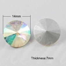 riv0011-disk-14 apie 14 mm, disko forma, skaidrus, ab danga, 6 vnt.