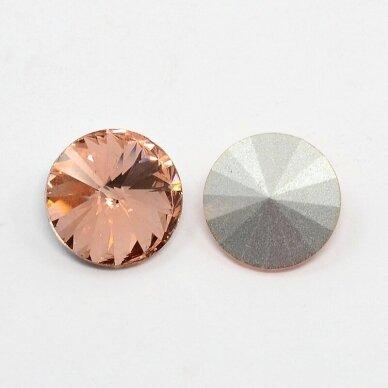 riv0010k-disk-12 apie 12 mm, disko forma, skaidrus, šviesi, persikinė spalva, 6 vnt. 2