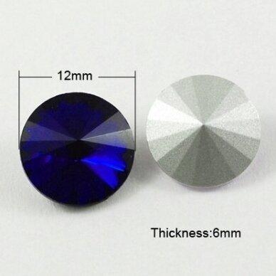 riv0013k-disk-12 apie 12 mm, disko forma, skaidrus, tamsi, mėlyna spalva, 6 vnt.