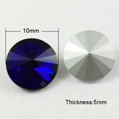riv0013k-disk-10 apie 10 mm, disko forma, skaidrus, tamsi, mėlyna spalva, 8 vnt.