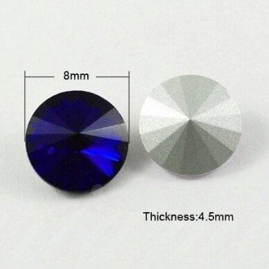 riv0013k-disk-08 apie 8 mm, disko forma, skaidrus, tamsi, mėlyna spalva, 12 vnt.