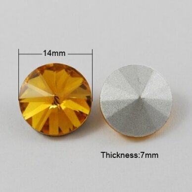 riv0023k-disk-14 apie 14 mm, disko forma, skaidrus, geltona spalva, 6 vnt. 2