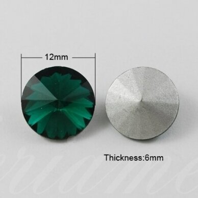 riv0007-disk-12 apie 12 mm, disko forma, skaidrus, žalia spalva, 6 vnt. 2