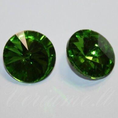 riv0037-disk-12 apie 12 mm, disko forma, skaidrus, žalia spalva, 6 vnt.