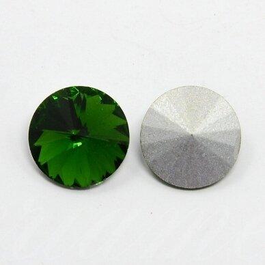 riv0037-disk-14 apie 14 mm, disko forma, skaidrus, žalia spalva, 6 vnt. 2