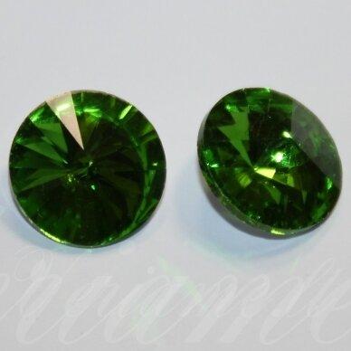 riv0037-disk-14 apie 14 mm, disko forma, skaidrus, žalia spalva, 6 vnt.