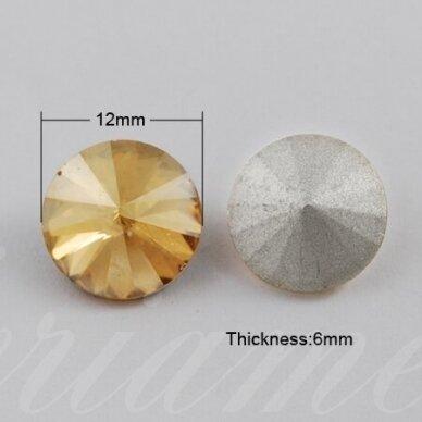 riv0002-disk-12 apie 12 mm, disko forma, skaidrus, gelsva spalva, 6 vnt. 2