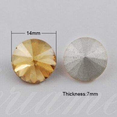 riv0002-disk-14 apie 14 mm, disko forma, skaidrus, gelsva spalva, 6 vnt. 2