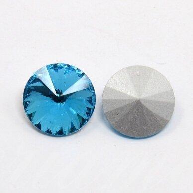 riv0045-disk-12 apie 12 mm, disko forma, skaidrus, žydra spalva, 6 vnt.