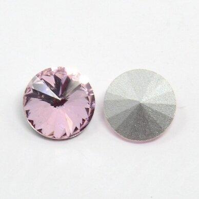 riv0015-disk-14 apie 14 mm, disko forma, skaidrus, šviesi, violetinė spalva, 6 vnt. 2