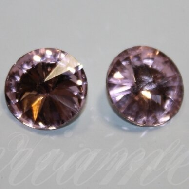 riv0015-disk-14 apie 14 mm, disko forma, skaidrus, šviesi, violetinė spalva, 6 vnt.