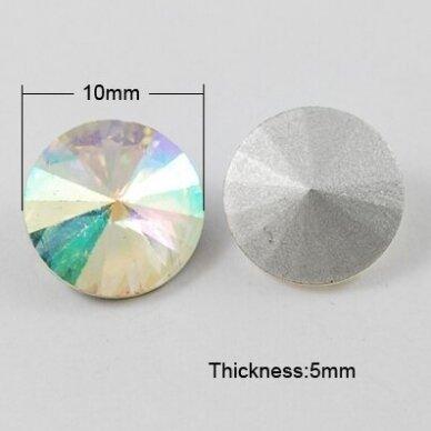 riv0011-disk-10 apie 10 mm, disko forma, skaidrus, ab danga, 8 vnt. 2