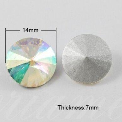 riv0011-disk-14 apie 14 mm, disko forma, skaidrus, ab danga, 6 vnt. 2