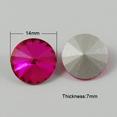 riv0056-disk-14 apie 14 mm, disko forma, ryški, rožinė spalva, 6 vnt.