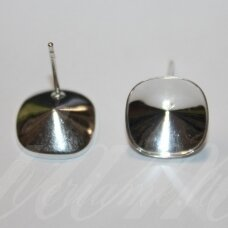 sid0017-15x12.8x12.8 about 15 x 12.8 x 12.8 mm, 925 silver 12 mm for cabochon size (swarovski 4470 model), earring part, 0.6 g, 1 pc.