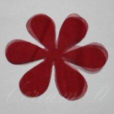 SIF0019-GEL-33x33, apie 33 x 33 mm, gėlės forma, tamsi, raudona spalva, šifonas, 10 vnt.