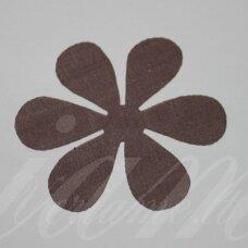 sif0023-gel-33x33. apie 33 x 33 mm, gėlytės forma, ruda spalva, šifonas, 10 vnt.