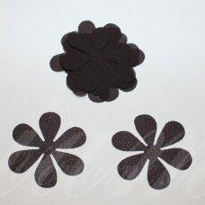 sif0028-gel-43x43. apie 43 x 43 mm, gėlytės forma, tamsi, ruda spalva, šifonas, 10 vnt.