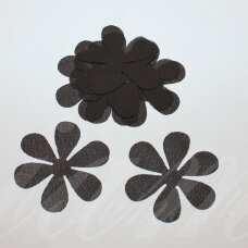 sif0037-gel-43x43. apie 43 x 43 mm, gėlytės forma, tamsi, ruda spalva, šifonas, 10 vnt.