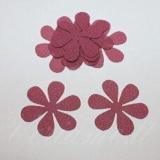 SIF0039-GEL-33x33, apie 33 x 33 mm, gėlės forma, tamsi, rožinė spalva, šifonas, 10 vnt.