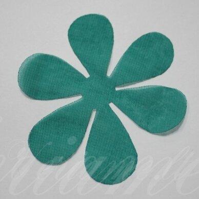 sif0007-gel-43x43. apie 43 x 43 mm, gėlytės forma, žalia spalva, šifonas, 10 vnt.