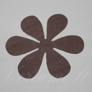 sif0023-gel-33x33 apie 33 x 33 mm, gėlytės forma, ruda spalva, šifonas, 10 vnt.