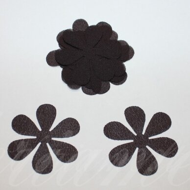 sif0028-gel-33x33 apie 33 x 33 mm, gėlytės forma, tamsi, ruda spalva, šifonas, 10 vnt.