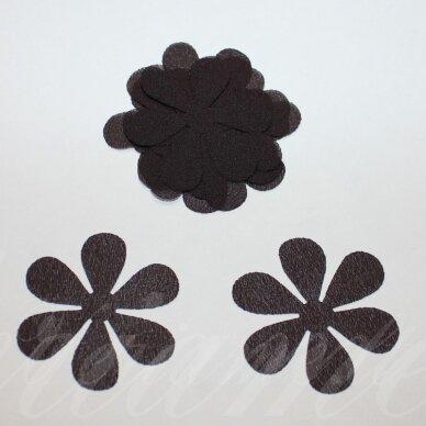 sif0028-gel-43x43 apie 43 x 43 mm, gėlytės forma, tamsi, ruda spalva, šifonas, 10 vnt.