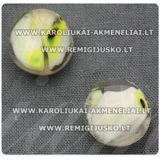 stik0279 apie 14 x 7 mm, balta spalva, marga, stiklinis karoliukas, 1 vnt.