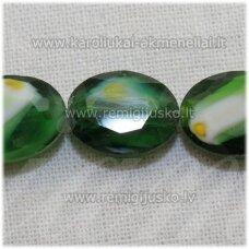 stik0497 apie 12 x 9 x 6 mm, ovalo forma, briaunuotas, žalia spalva, marga, stiklinis karoliukas, 1 vnt.
