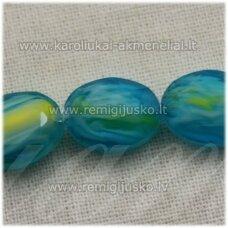 stik0508 apie 12 x 9 x 6 mm, ovalo forma, briaunuotas, žydra spalva, marga, stiklinis karoliukas, 1 vnt.
