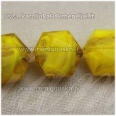 stik0520 apie 15 x 10 mm, briaunuotas, geltona spalva, marga, stiklinis karoliukas, 1 vnt.