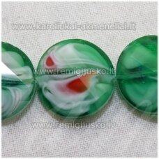 stik0526 apie 18 x 7 mm, disko forma, briaunuotas, suktas, žalia spalva, marga, stiklinis karoliukas, 1 vnt.