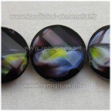 STIK0528 apie 18 x 7 mm, disko forma, briaunuotas, suktas, tamsi, violetinė spalva, margas, stikliniai karoliukai, 1 vnt.
