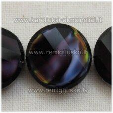 STIK0537 apie 14 x 6 mm, disko forma, briaunuotas, suktas,  violetinė spalva, margas, stikliniai karoliukai, 1 vnt.