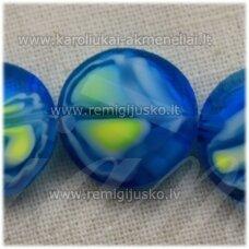 STIK0538 apie 14 x 6 mm, disko forma, briaunuotas, suktas, žydra spalva, margas, stikliniai karoliukai, 1 vnt.