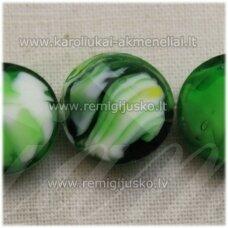 stik0540 apie 14 x 6 mm, disko forma, briaunuotas, suktas, žalia spalva, marga, stiklinis karoliukas, 1 vnt.