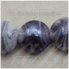 STIK0547 apie 16 x 9 mm, disko forma, blizgūs,  violetinė spalva, margas, stikliniai karoliukai, 1 vnt.