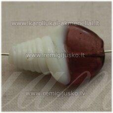 stik0549 apie 27 x 17 mm, sukta forma, balta spalva, violetinė spalva, stiklinis karoliukas, 1 vnt.
