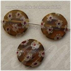 STIK0559 apie 16 x 5 mm, disko forma, skaidrus, ruda spalva, margas, stikliniai karoliukai, 1 vnt.