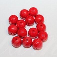 stk2219 apie 8 mm, apvali forma, raudona spalva, stiklinis karoliukas, apie 30 vnt.