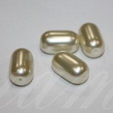 stk0030 apie 17 x 10 mm, pailga forma, balta spalva, stiklinis karoliukas, 7 vnt.